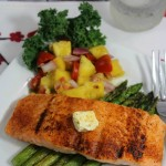 Blackened Grilled Salmon with Fruit Salsa and Garlic Asparagus