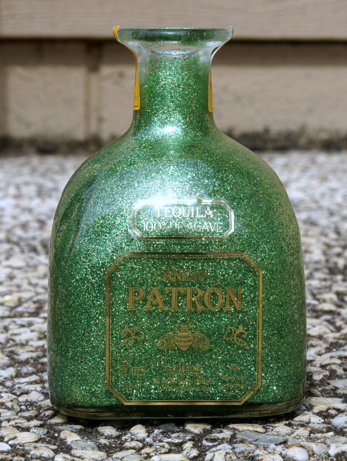 Reverse glittered Patron bottle