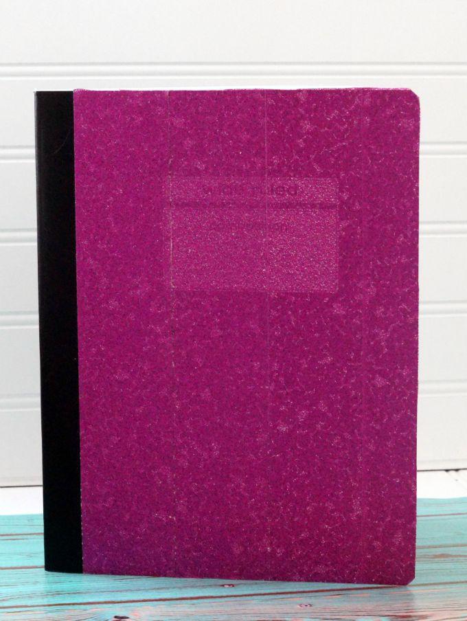 make a no mess glitter composition book