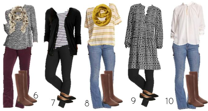 Fall Old Navy mix and match wardrobe6-10