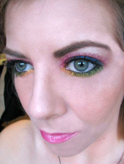 Rainbow eye makeup and eyebrows