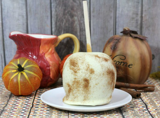 The Best chocolate dipped spiced caramel apple