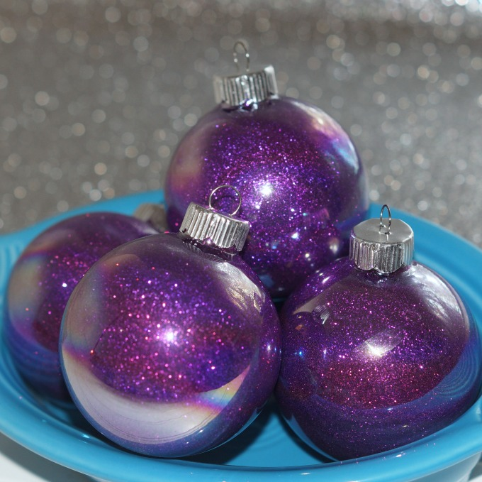 purple glittered glass ornaments sq