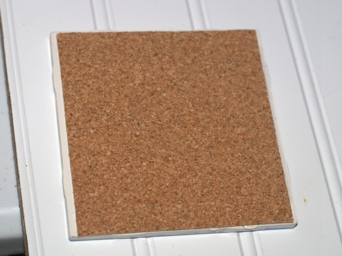 upcycled tile coaster with cork