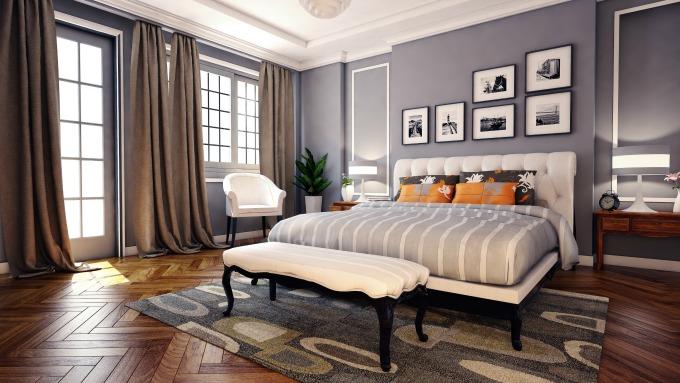 chic grey bedroom