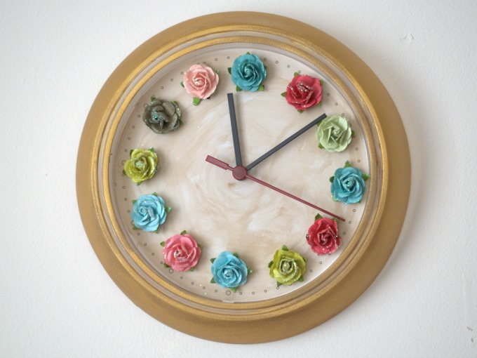 DIY flower wall clock