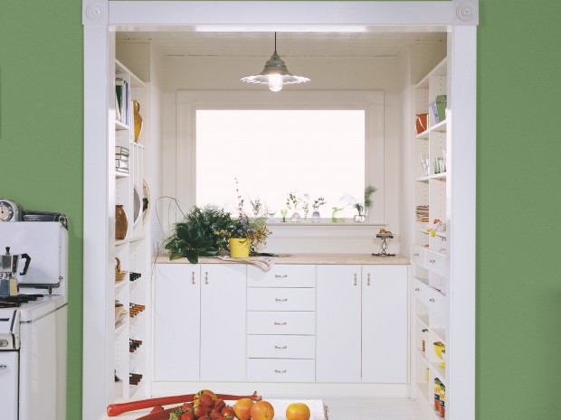 retro style walk in pantry