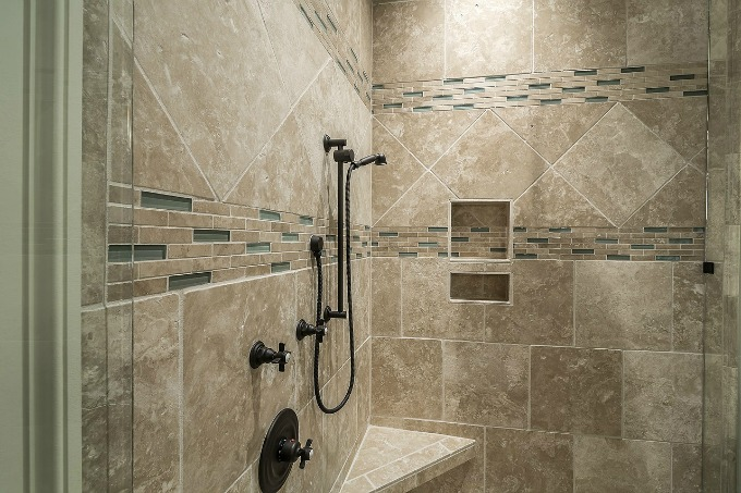 travertine shower for two
