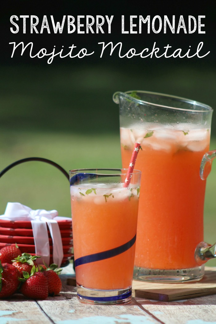 This refreshing Strawberry Lemonade Mint Mojito Mocktail is perfect for spring and summer. It's so good, and perfect for any get together. | Brunch | Bridal Shower | Engagement Party | Wedding | Baby shower |