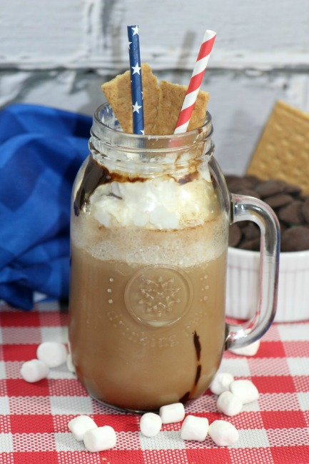 copycat starbucks smores frappuccino on table runner