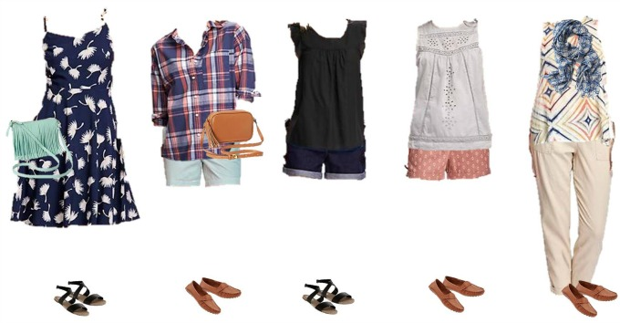 Old Navy Mix and Match Wardrobe Summer Styles 1-5