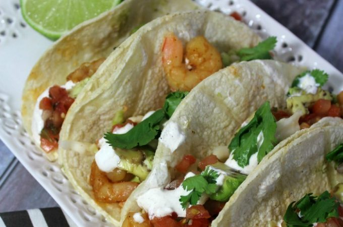 Chipotle shrimp tacos with lime crema