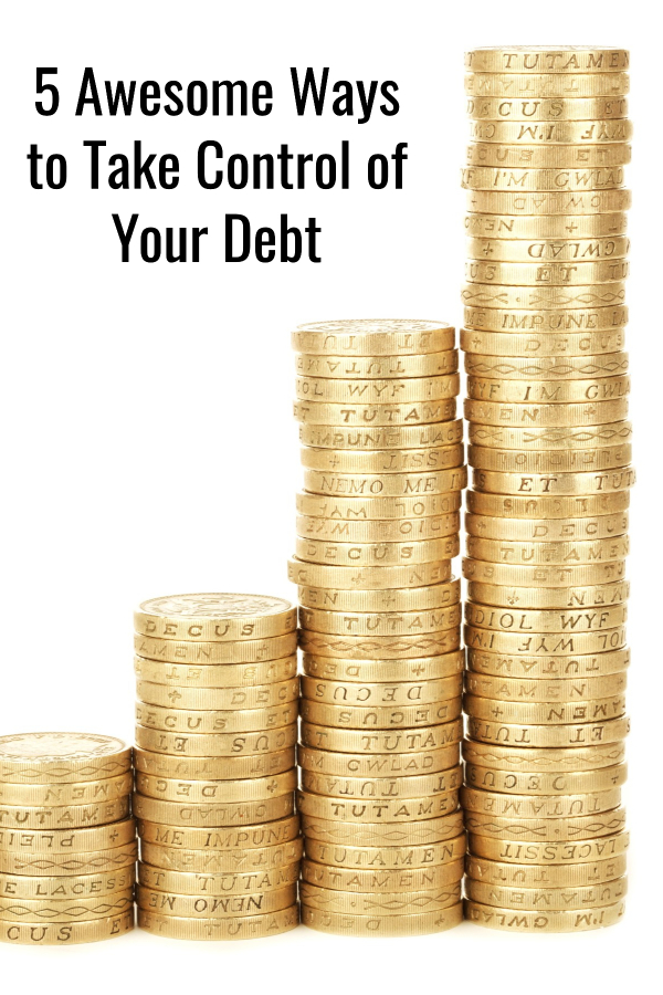 5 great ways to take control of your debt. Learn how to pay off your bills and manage your money without feeling deprived or stressed out.