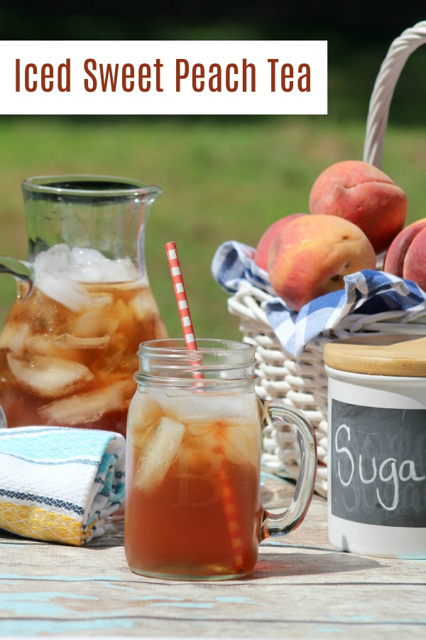 Love sweet tea but looking for a little something more? This Iced Sweet Peach Tea is the perfect summer beverage. it's a great drink recipe that everyone will want you to bring to the potluck or picnic.