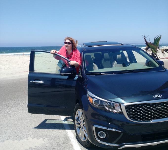 kia sedona and me at the beach
