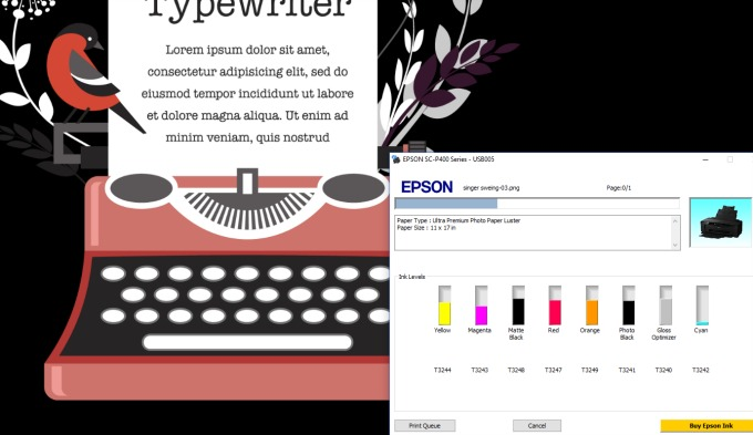 epson printing screenshot