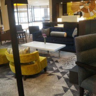 The lobby of the Sheraton Bloomington hotel in Minneapolis