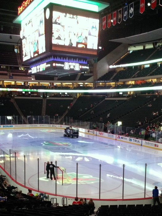 Getting the ice ready for the Minnesota Wild pregame skate