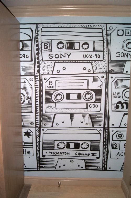 Cassette Tape wallpaper at the Radisson Blu Minneapolis