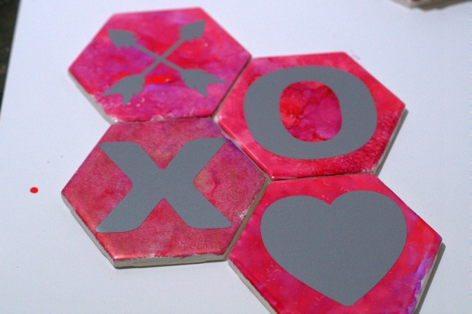Hugs and Kisses upcycled tile coasters