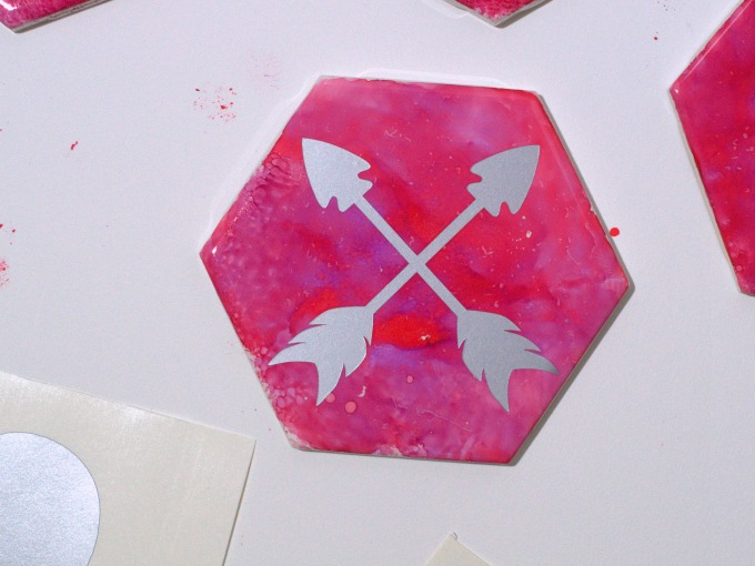 Upcycled alcohol ink tile coaster project