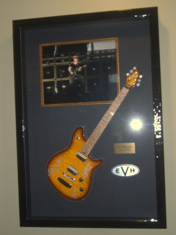 Eddie Van Halen's guitar on display at the Xcel Energy Center