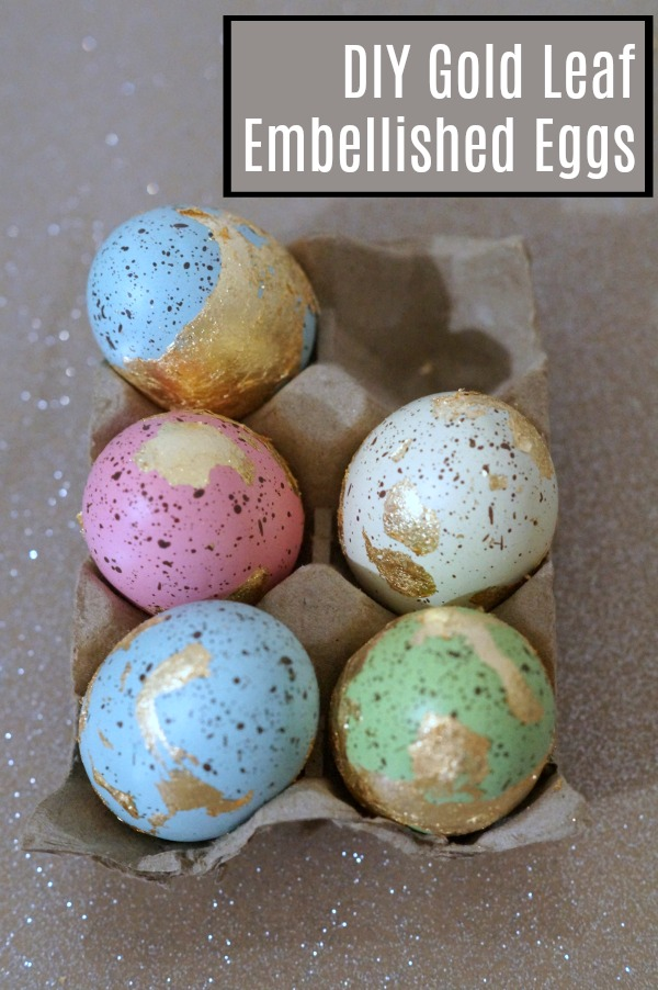 Make these simple gold leaf embellished eggs. They're perfect for adding a little glitz and glamour to your Easter gathering, or just for some sparkle in your home decor.