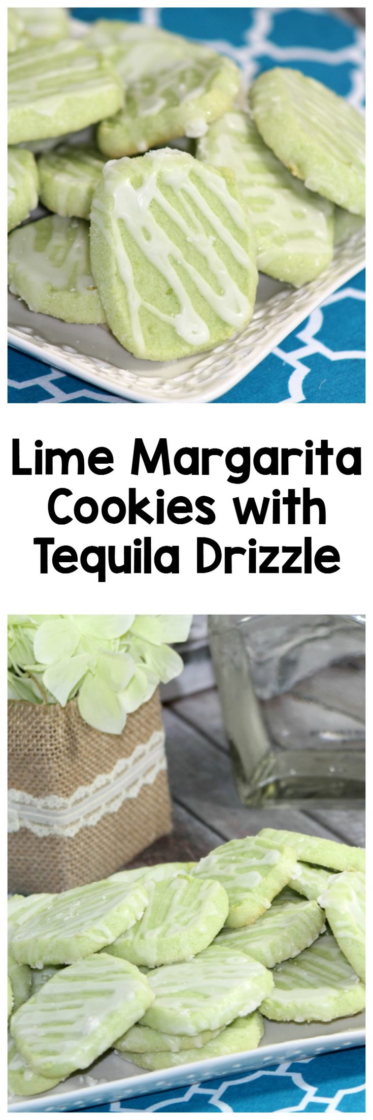 Lime Margaritea Cookies with a Tequila Drizzle. This boozy cookie has a grat alcoholic glaze and is like a margarita in your hand. Perfect for adult functions. | Alcohol |