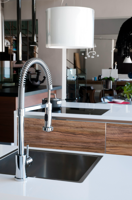 High end faucet in a remodeled kitchen
