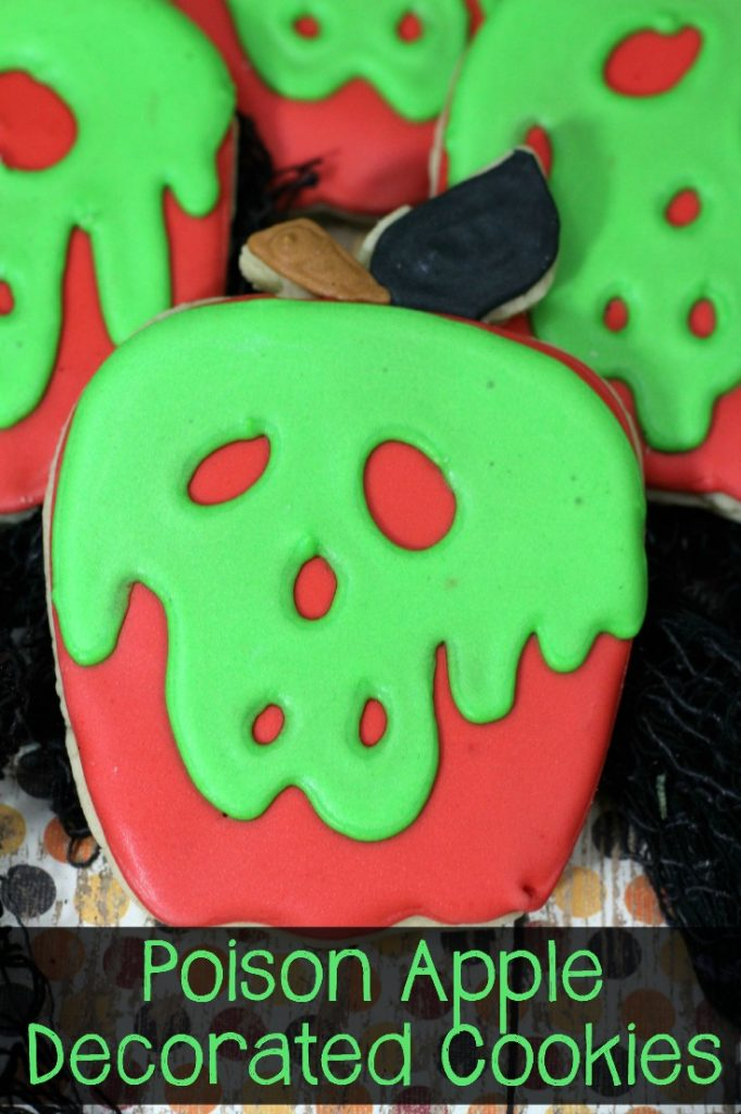 Closeup of poison apple cookies.