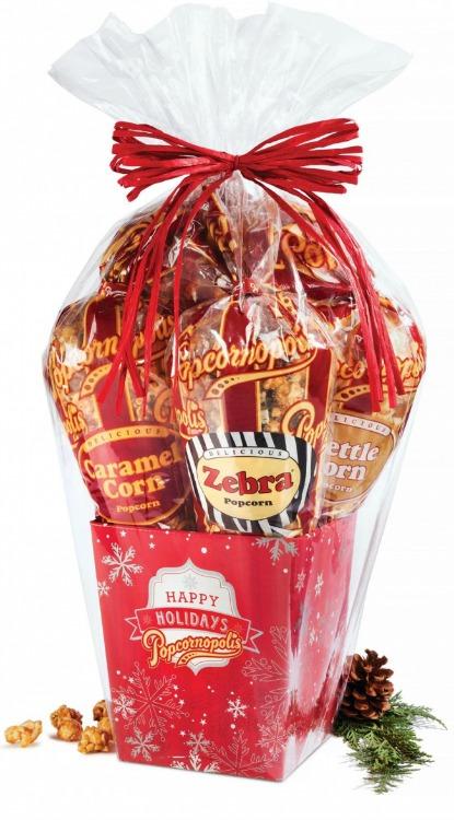 Popcornopolis Red Snowflake gift basket