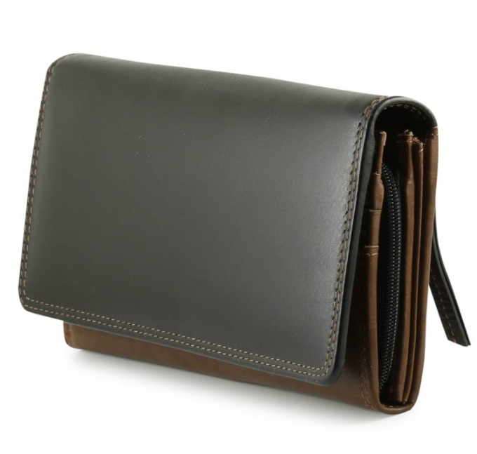 Ladies brown leather wallet with RFID technology