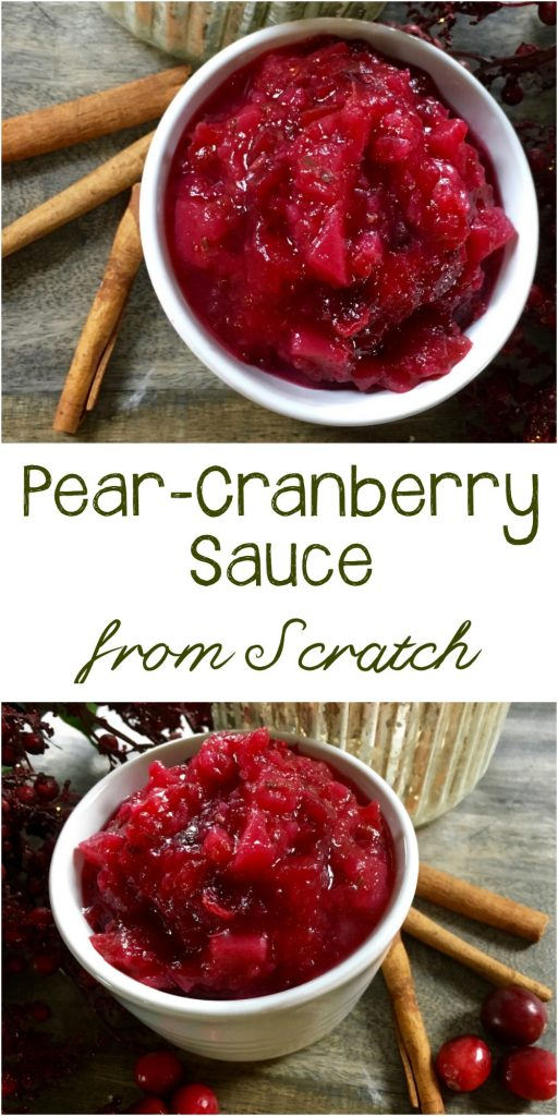 An easy to make pear cranberry sauce recipe that is naturally sweetened with no refined sugar. It's quick and easy for Thanksgiving, or any time you want a homemade healthy version of the classic.