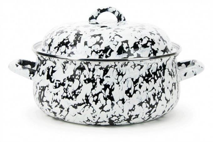 Black and white enamelware dutch oven from Cottage and Bungalow
