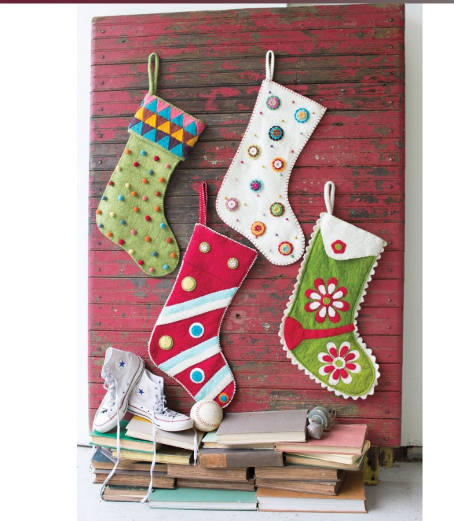 Whimsical felt christmas stockings