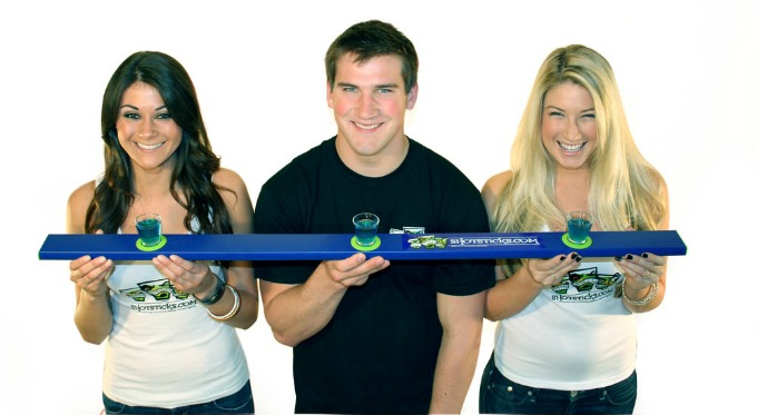 Shotsticks drinking game. A twist on the shot-ski