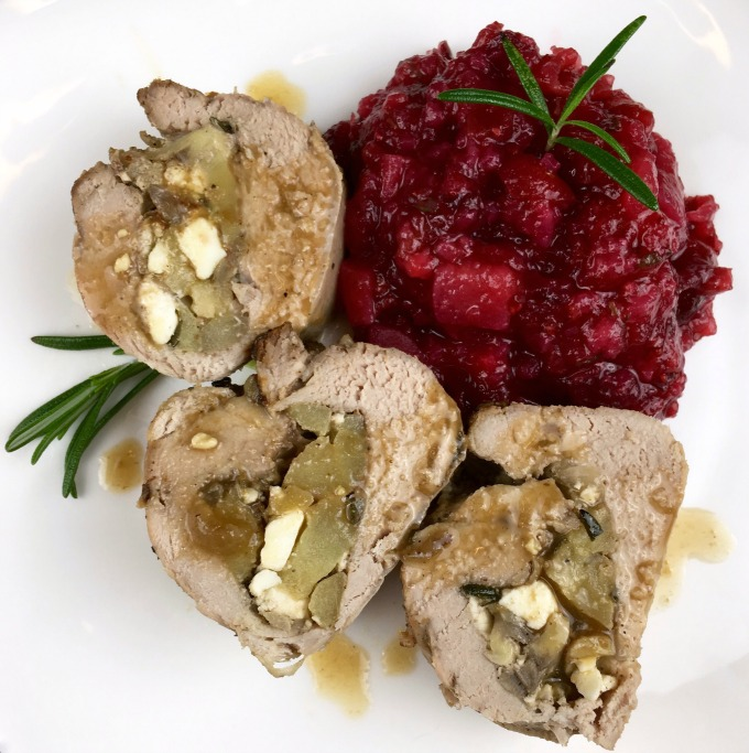 Roast Pork Tenderloin stuffed with apples, feta, and dates