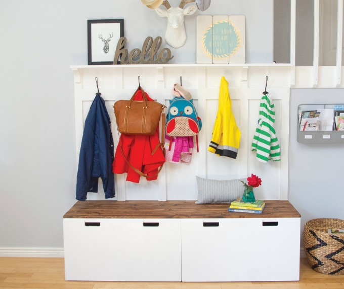 Take two ikea benches and turn them into a mudroom bench system