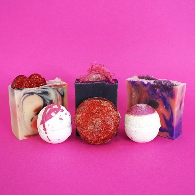Antoinette's Bathhouse Valentine's Day handmade soap and bath bomb set