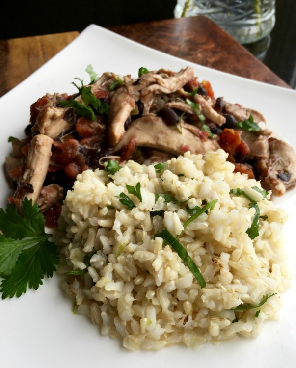 Slow cooker shredded Mexican chicken with Cilantro Lime Rice