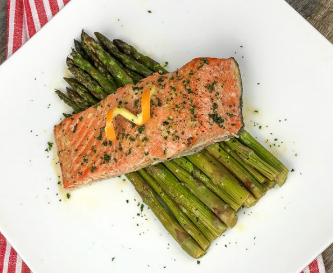 30 minute orange glazed salmon with asparagus sheet pan meal