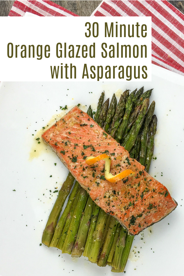 This delicious orange glazed salmon sheet pan recipe goes from ingredients to table in less than 30 minutes. It's a great dinner idea, and is oh so healthy and delicious. Paleo and Whole30 too!