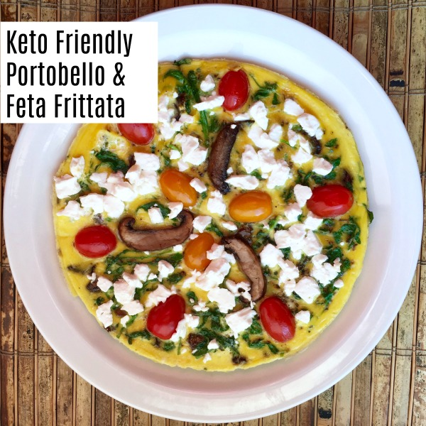 Low carb Keto friendly Vegetarian Portobello Mushroom and Feta Frittata recipe. Makes a great easy weeknight dinner. Or a lunch, brunch, or breakfast too. #lowcarb #ketofriendly #dinner #recipe