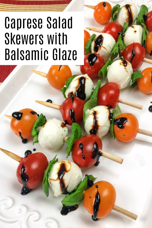 Caprese salad skewers are a great appetzer for any time of the year. They're delicious in the summer, but amazing for the holidays as well. And they're so simple to make. Includes the balsamic reduction recipe too