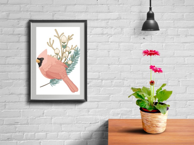 Winter Cardinal Free Printable Art for Christmas
