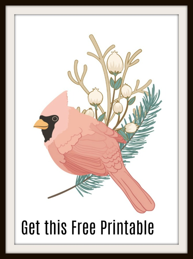 Ge this fun and elegant free printable of a Winter Cardinal. It's a great piece for winter, Christmas, or just those that love cardinals. Available in 3 sizes, too