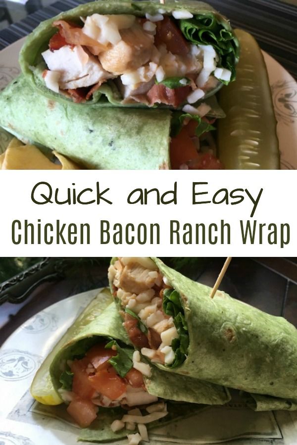 Quick and easy Chicken Bacon Ranch Wrap sandwich that's sooo good. An easy lunch or dinner idea. #lunch #dinner #wraps #recipe #chicken