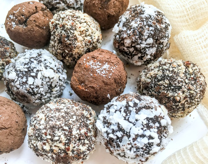 Vegan Healthier Chocolate Hazelnut truffles with no refined sugar