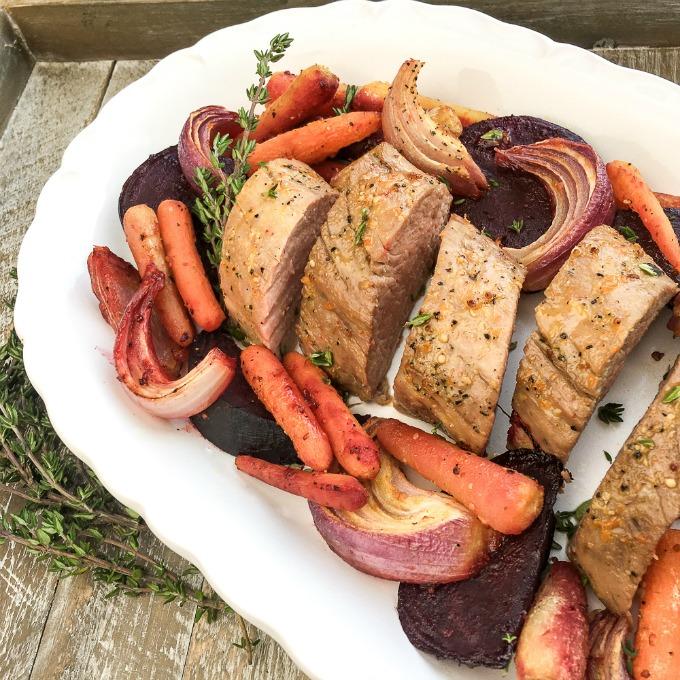 Orange pork roast sheet pan recipe