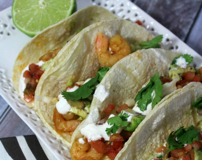Chipotle Shrimp Tacos with Lime Crema Sauce